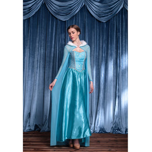 Frozen Elsa Princess Halloween Cosplay Dress With Cloak