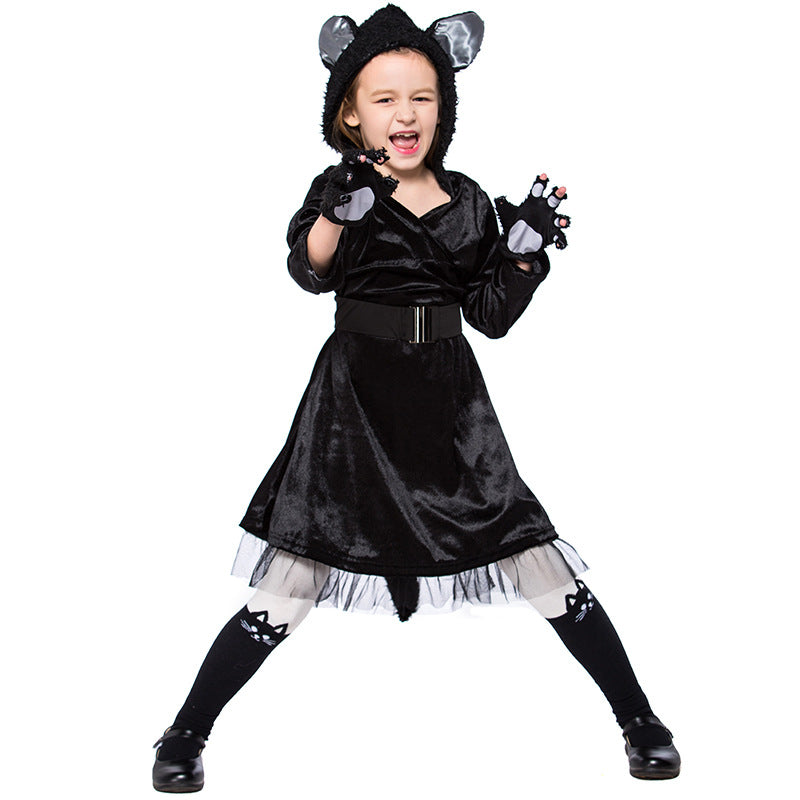 Girls Black Cat Halloween Cosplay Costume Dress