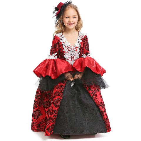 Gothic Style Vampire Medieval Retro Court Halloween Cosplay Dress For Kids