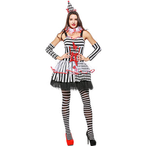 Halloween Clown Jester Cosplay Costume Dress For Women