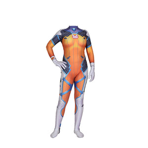 OW DVA Costume Blueberry Skin Cosplay Armored W Strips Costume Zentai