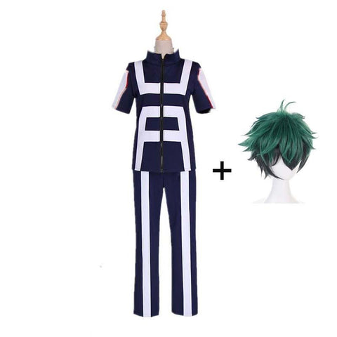 Boku No Hero / My Hero Academia Izuku Deku Training/Gym Suit Cosplay Costumes With Wigs Unisex