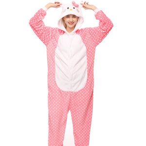 Kigurumi Animal Onesies Polka Dot Cat Hoodie Pajamas