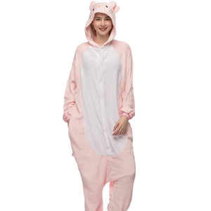 Kigurumi Animal Onesies Pink Cat Hoodie Pajamas