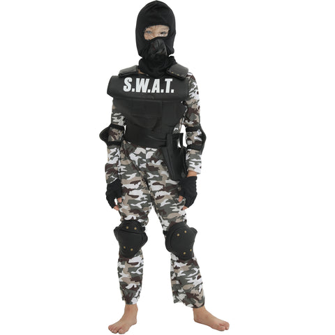 Kids Boys Police S.W.A.T Halloween Cosplay Costume