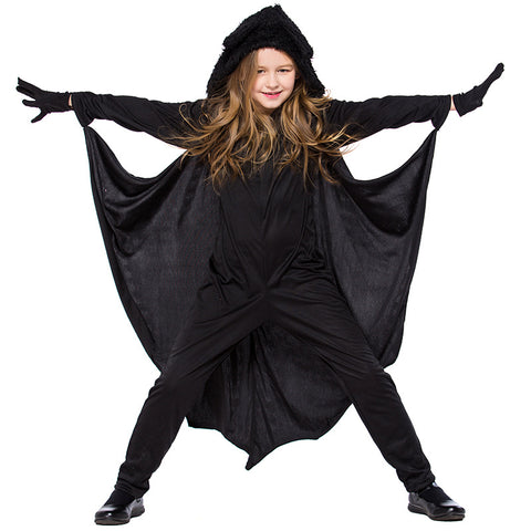 Kids Girls Hooded Bat Halloween Costume With Gloves