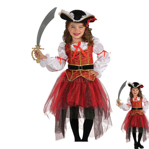 Kids Girls Pirate Halloween Cosplay Costume Tutu Dress With Hat