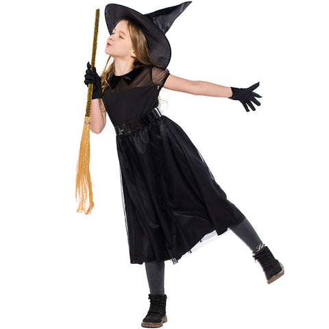 Kids Girls Witch Costume Cop Halloween Costume With Hat and Gloves