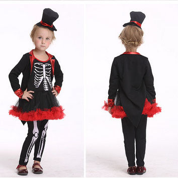 Kids Toddler Red and Black Skeleton Dress Halloween Cosplay Costume