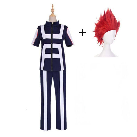 Boku No Hero / My Hero Academia Kirishima Eijirou Training/Gym Suit Cosplay Costumes With Wigs Unisex
