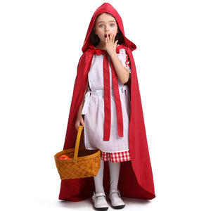 Little Red Riding Hood Girls Halloween Maid Cosplay Costume With Cloak