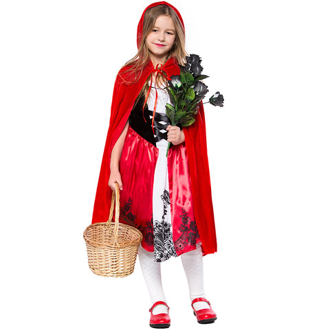 Little Red Riding Hood kids Girls Halloween Cosplay Costume With Cloak