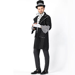 Men Black Magician Halloween Cosplay Costume Suit