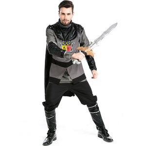 Men Roman Warrior Gladiator Warrior Black Cosplay Costume For Halloween Party Performance