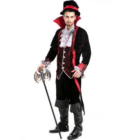Men Vampire  Gothic Count Cosplay Costume For Halloween Party Performance