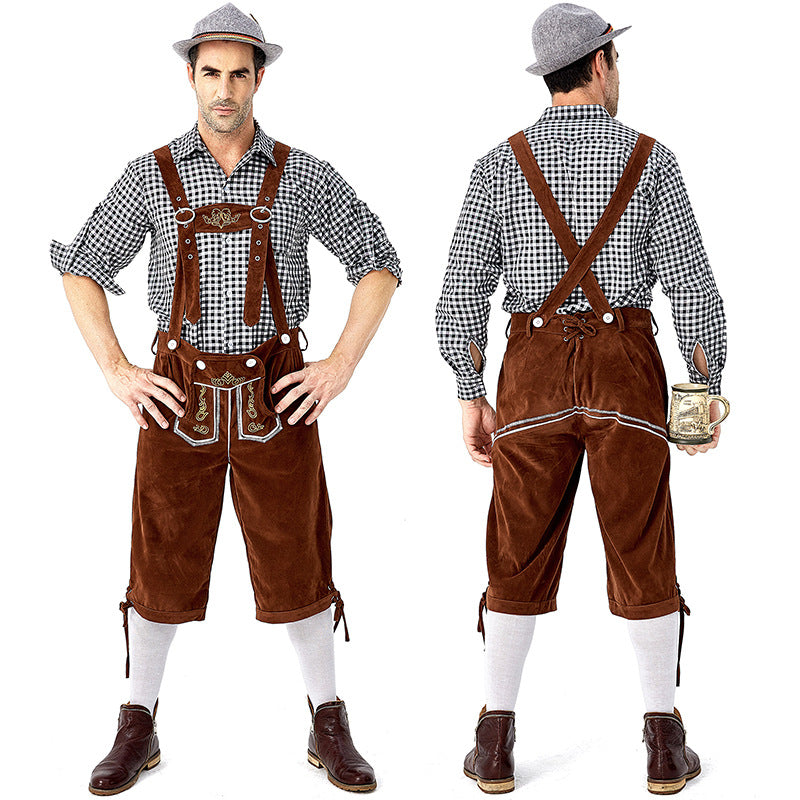 Men's Bavarian Oktoberfest Lederhosen Guy Costume Full Set With Hat