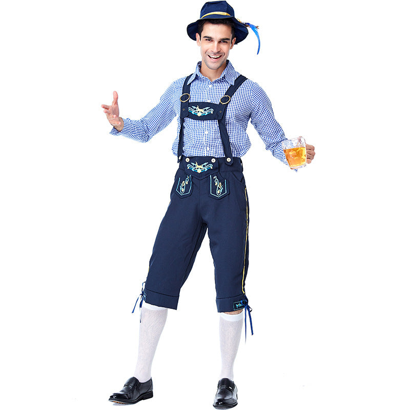 Men's Bavarian Oktoberfest Lederhosen Guy Costume Shorts and Top