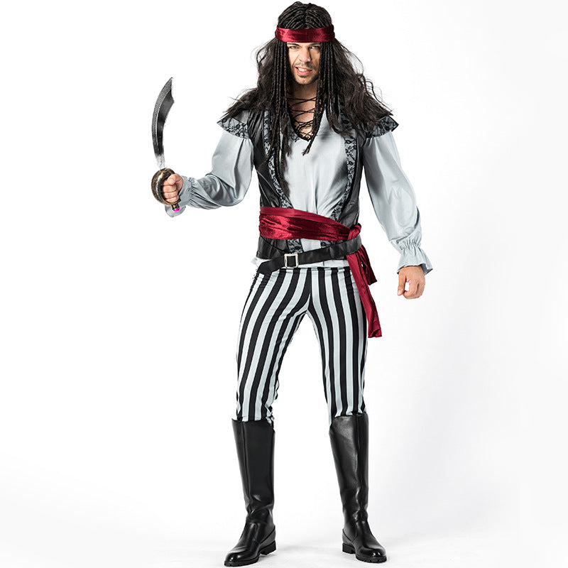 Men's Black And White Striped Jack Captain Pirate Costume Halloween/Stage Performance/Party