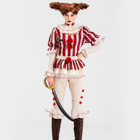 Movie It Pennywis Women Halloween Red Cosplay Costume Full Set