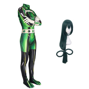 My Hero Academia Froppy Tsuyu Asui Fighting Suit Cosplay Costume With Wigs