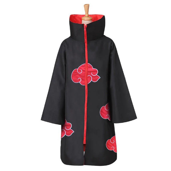 Naurto Akatsuki Itachi Cloak Cosplay Costume + Headband + Ring + Kunai