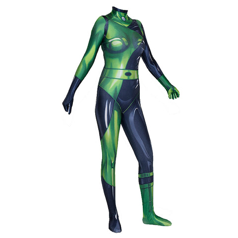 New Kim Possible Shego Bodysuit Jumpsuit Cosplay Zentai Costume