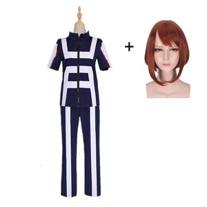 Boku No Hero / My Hero Academia Ochako Uraraka Training/Gym Suit Cosplay Costumes With Wigs Unisex