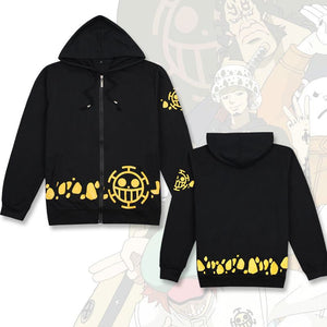 One Piece Trafalgar Law Black Hoodies Pullover Cosplay Costume Long Sleeve Zip Jacket Sweatshirt Unisex