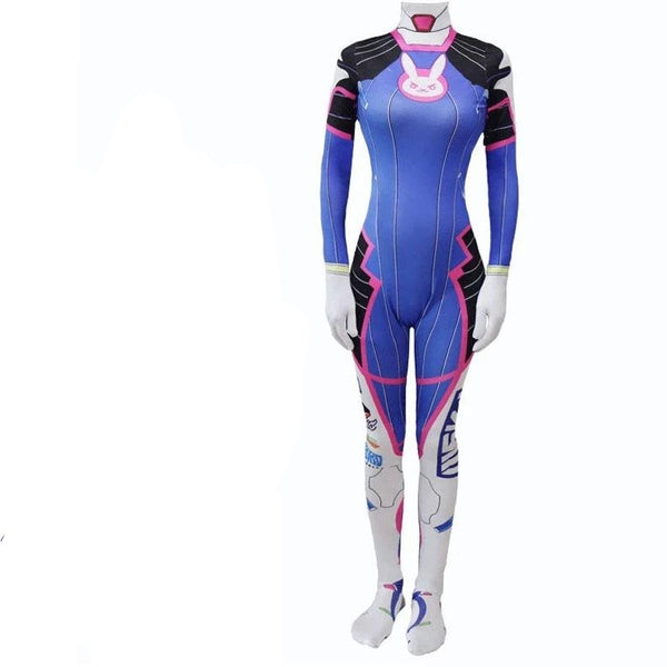 Overwatch D.Va Hana Song Cosplay Costume Jumpsuit With Wigs Headset and Gun