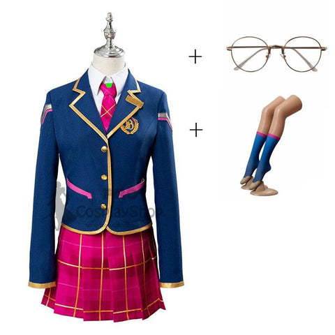Overwatch D.Va Hana Song School Cosplay Costume Uniform Full Set