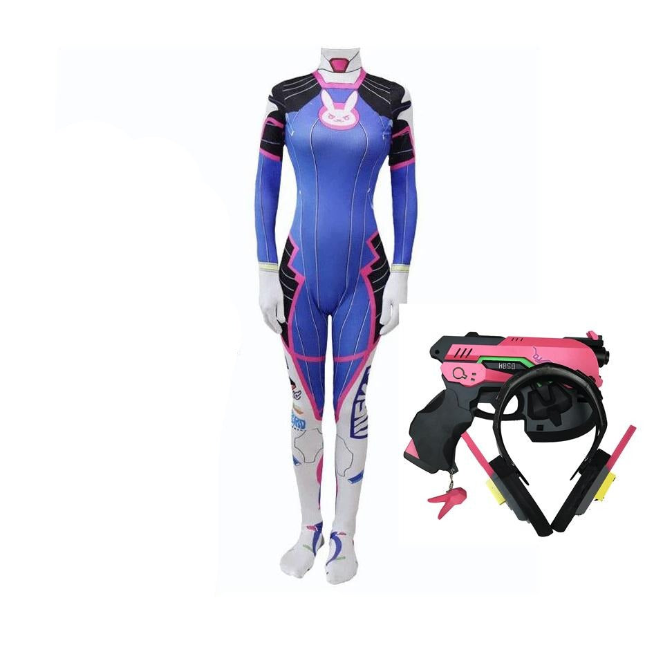 Overwatch D.VA Hana Song Cosplay Costume Full Set With Headphones and Gun