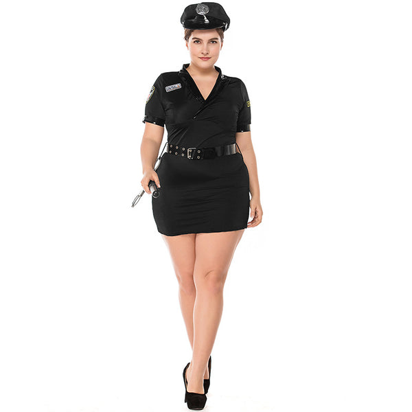Plus Size Adult Women Police Cop Officer Uniform Costume Dress