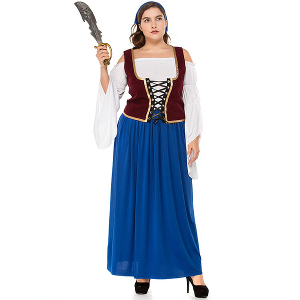 Plus Size Blue And White Pirate / German Beer Costume Halloween/Stage Performance/Party