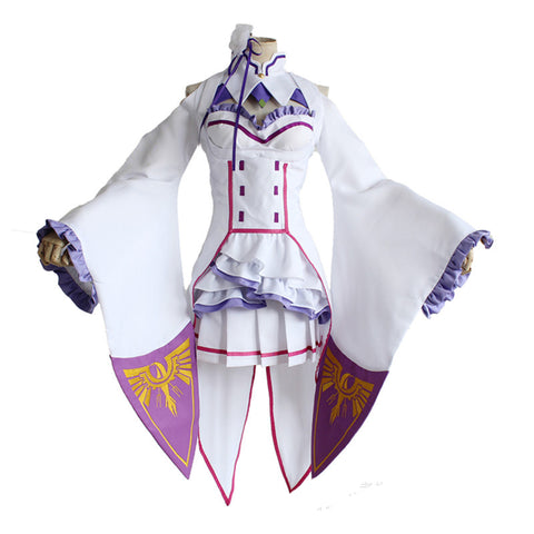 Re:Zero Starting Life in Another World Emilia Cosplay Costume Dress With Headwear and Socks