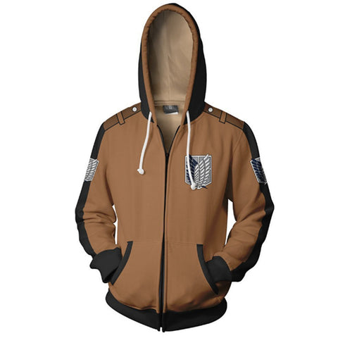 Anime Attack On Titan Zipper Jacket Unisex Hoodie Zip Up Coat