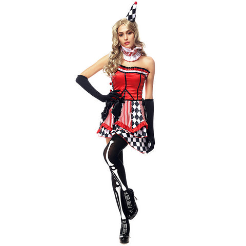 Sexy Clown Jester Cosplay Costume Dress For Halloween Party