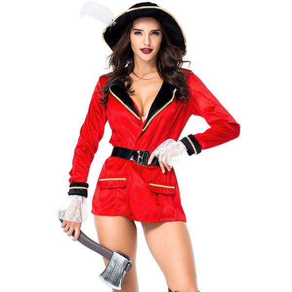 Sexy Red Sailor Pirate Captain Cosplay Costume Halloween/Stage Performance/Party