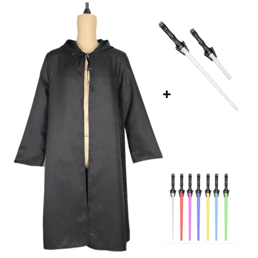 Star Wars Jedi Cosplay Costume Cloak With Lightsaber