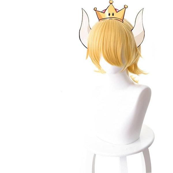 Super Mario Odyssey Kuppa Hime Bowsette Princess Cosplay Short Blond Wigs