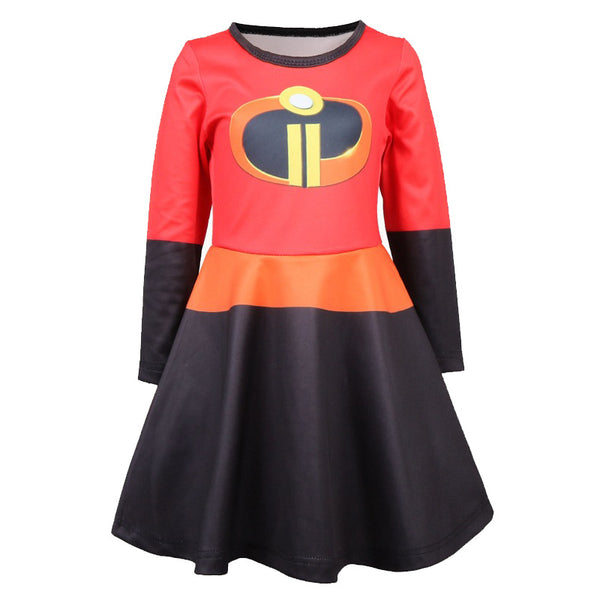 The Incredibles Kids Cosplay Costume Dress With Cloak