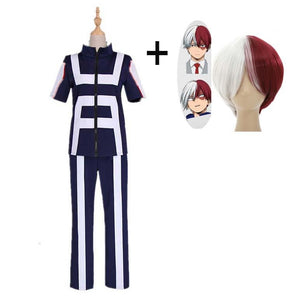 Boku No Hero / My Hero Academia Todoroki Shouto Training/Gym Suit Cosplay Costumes With Wigs Unisex