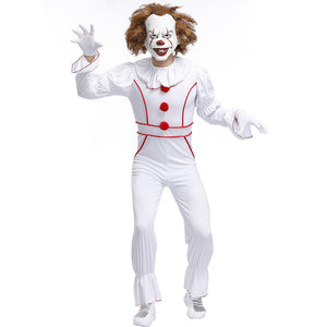 Unisex White Clown Suit Cosplay Costume