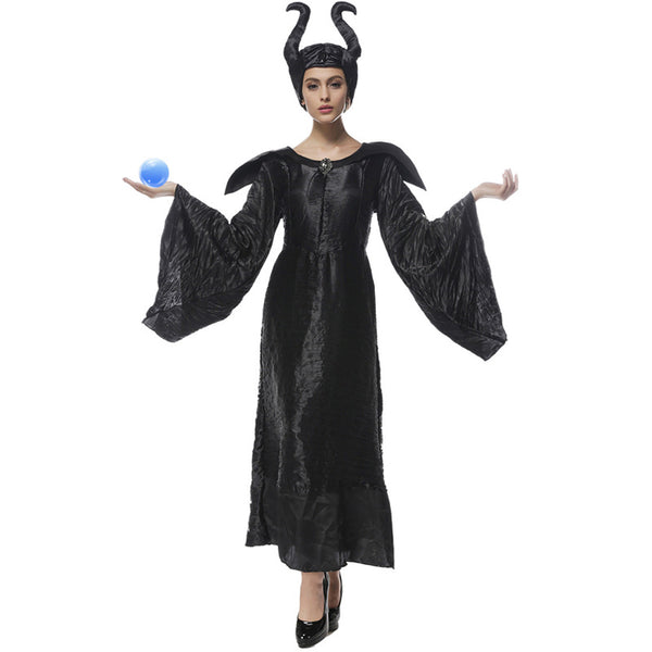 Women Deluxe Maleficent Vampire Black Gown Cosplay Costume Dress For Halloween Party Performance
