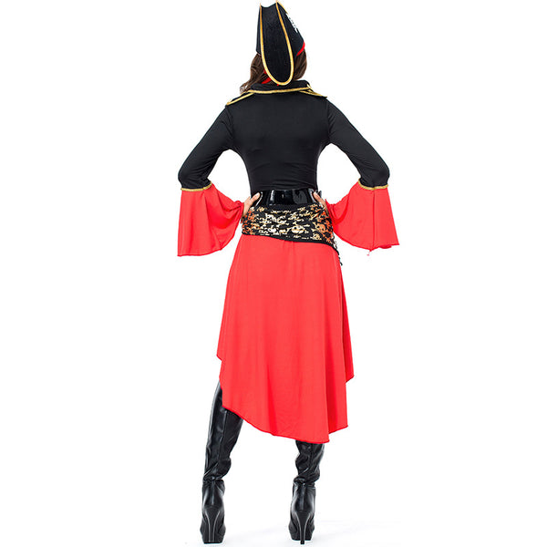 Woman Red-black Skeleton Pirate Costume Halloween/Stage Performance/Party