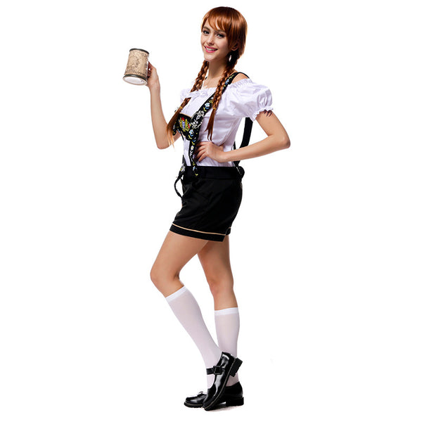 Women Beer Festival Oktoberfest Off Shoulder Top And Shorts Costume