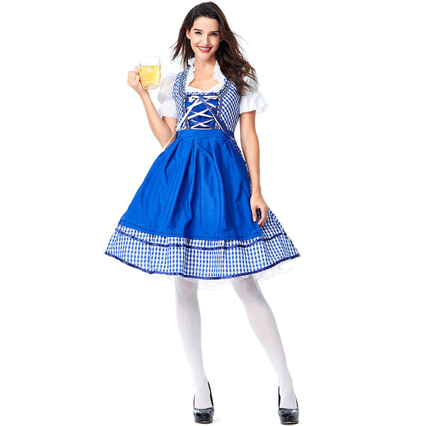 Women Beer Oktoberfest Long Blue Dress Costume Bavarian Traditional Party Dress