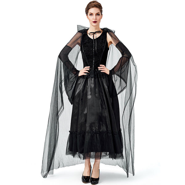 Women Black Vampire Witch Cosplay Costume Dress For Halloween Party Performance