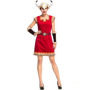 Women Bull Demon King Warrior Vikings Cosplay Costume For Halloween Party Performance