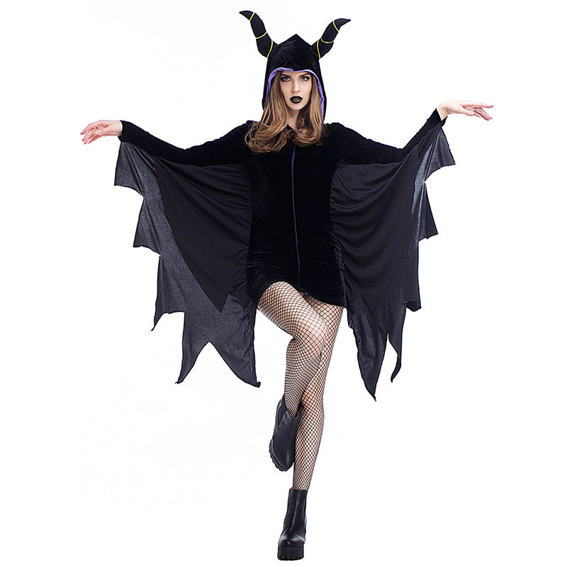 Women Deluxe Maleficent Vampire Black Bat Cosplay Costume Dress For Halloween Party Performance