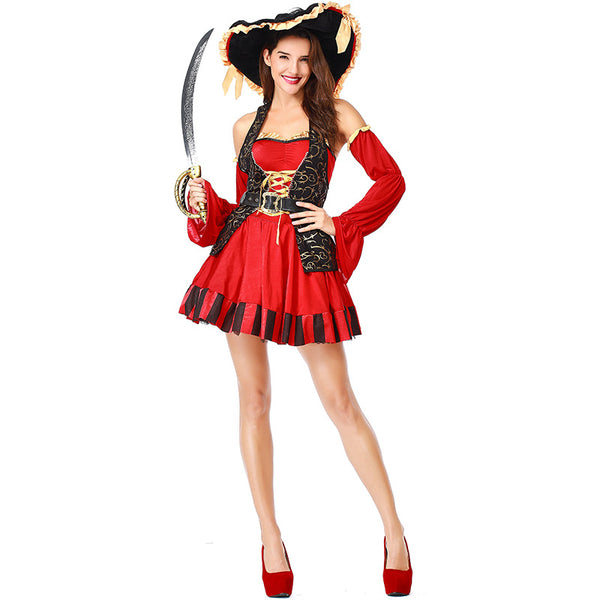 Women Deluxe Sexy Red Tube Pirate Cosplay Costume Halloween/Stage Performance/Party